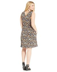 Lucky Brand - Pink Lucky Brand Plus Size Sleeveless Printed A-Line Dress - Lyst