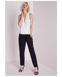 Missguided Red V Neck Monochrome Jumpsuit