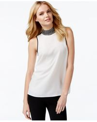 Michael Kors | Natural Michael Petite Sleeveless Crystal-embellished Turtleneck | Lyst