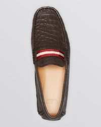 Bally Brown Wabler Croc Embossed Driving Loafers for men
