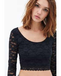 Forever 21 Black Lace Crop Top