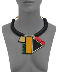 Marni | Black Multicolor Geometric Tube Necklace | Lyst