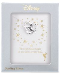 Disney   Metallic Engraved Tinker Bell Pendant Necklace In Sterling Silver   Lyst