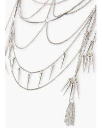 Mango - Metallic Spike Waterfall Necklace - Lyst