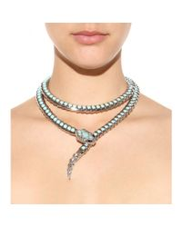Roberto Cavalli Blue Embellished Snake Necklace