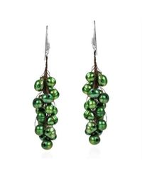 Aeravida | Cluster Drop Dyed Green Pearl .925 Silver Earrings | Lyst
