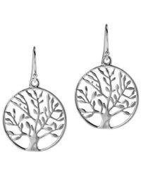 Aeravida - Metallic Flourishing Spring Tree Of Life Leaf .925 Silver Dangle Earrings - Lyst