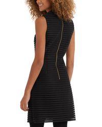 Oasis Black Stripe Mesh High Neck Dress