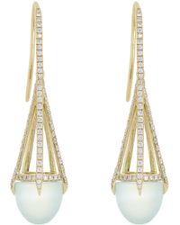 Finn - Metallic Diamond, Chalcedony & Gold Cage Earrings - Lyst