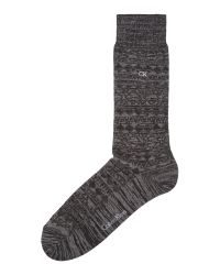 Calvin Klein | Black Ck Fairisle Textured Sock for Men | Lyst