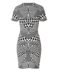 McQ - Black Optical Houndstooth Print Dress - Lyst