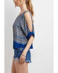 Forever 21 | Blue Ornate Print Open-shoulder Top | Lyst