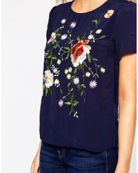 Oasis - Blue Floral Embellished Tee - Lyst