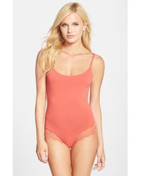 Only Hearts - Orange 'so Fine' Lace Trim Bodysuit - Lyst
