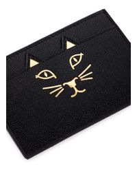 Charlotte Olympia - Black 'feline' Cat Face Leather Card Holder - Lyst