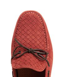 Bottega Veneta Red Intrecciato Suede Driving Shoes for men