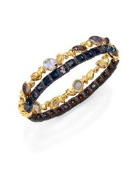 Alexis Bittar Metallic Elements Phoenix Labradorite & Crystal Skinny Stacked Bracelet