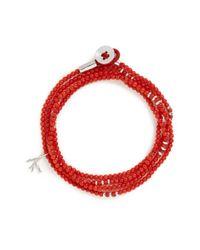 Isaia Red 'saracino' Bead Wrap Bracelet