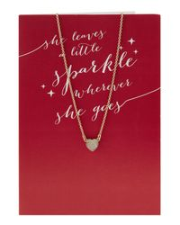 Lydell NYC - Metallic Crystal Heart Pendant Necklace W/ Statement Card - Lyst