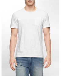 Calvin Klein | White Jeans Slim Fit Garment Dye Cotton Slub Short Sleeve Shirt for Men | Lyst