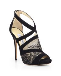 Jimmy Choo Black Vantage Suede & Lace Platform Sandals