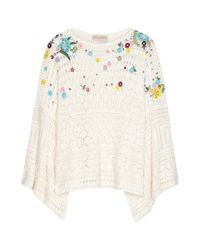 Emilio Pucci - Multicolor Embroidered Crochet-Knit Poncho - Lyst