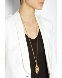 Kenneth Jay Lane - Metallic Gold Plated Seashell Necklace - Lyst