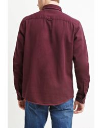 Forever 21 - Red Cotton Twill Shirt for Men - Lyst
