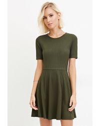 Forever 21 | Green Ribbed Knit Skater Dress | Lyst