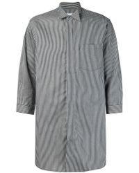 Kidill Gray Wing Tip Collar Striped Shirt for men