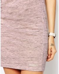 Bench - Pink Sleeveless T-shirt Dress With Rouched Side & Cowl Back - Lyst