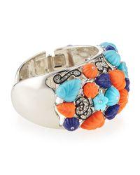 Kenneth Jay Lane | Orange Deco Floral & Crystal Cuff | Lyst