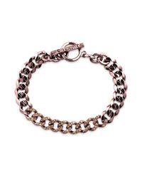 Givenchy - Brown Goldtone Swarovski Crystal Curb Link Bracelet - Lyst