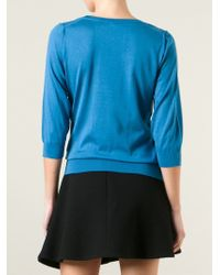 Dolce & Gabbana - Blue Three-Quarter Sleeve Top - Lyst