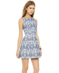 Alice + Olivia Epstein Structured Pouf Dress - Blue/white