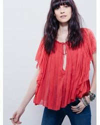 Free People - Red Fp One Womens Juniper Ruffle Blouse - Lyst