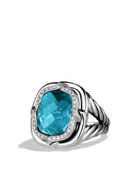 David Yurman | Metallic Labyrinth Ring With Blue Topaz And Diamonds | Lyst