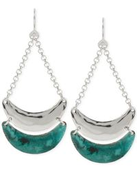 Robert Lee Morris | Green Silver-tone Patina Crescent Chandelier Earrings | Lyst