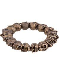 Alexander McQueen - Metallic Bronze Skull Bead Bracelet for Men - Lyst