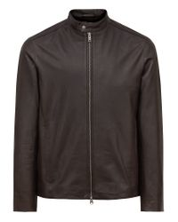 Reiss - Brown Tyler Lightweight Leather Jacket for Men - Lyst
