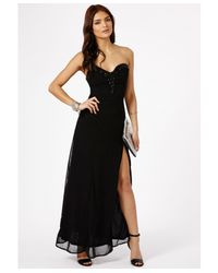 Missguided | Black Mizuka Strapless Sequin Detail Maxi Dress | Lyst