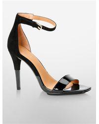 Calvin Klein - Black Shanti Patent + Suede Sandal - Lyst