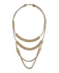 TOPSHOP - White Double Row Chain Necklace - Lyst