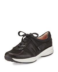 Taryn Rose Black Arvella Leather Trainer Sneaker