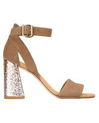 Stuart Weitzman - Brown Chunky Glitter Heel Sandals - Lyst