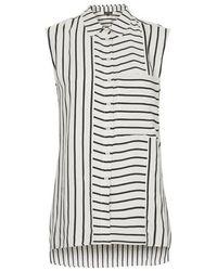 TOPSHOP | White Sleeveless Mixed Stripe Shirt | Lyst