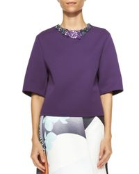 3.1 Phillip Lim - Purple Short-Sleeve Shirt With Jeweled Neckline - Lyst