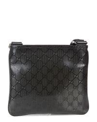 Gucci Black Monogrammed Coated Canvas Messenger Bag for men