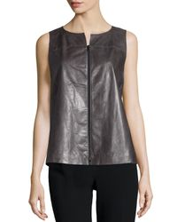 Lafayette 148 New York Gray Chandry Zip-front Leather Blouse
