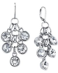 2028 | Metallic Silver-tone Glass Stone Cluster Drop Earrings | Lyst